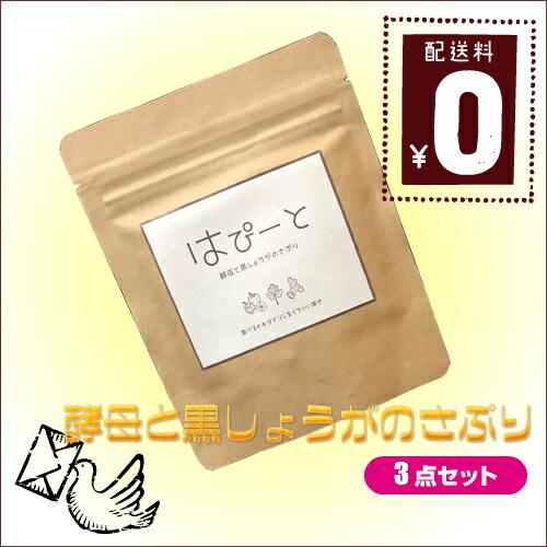 【送料無料】お得な3袋セット はぴーと 酵母と黒しょうがのさぷり 60粒 メール便