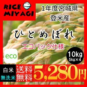 令和1年度産 新米 宮城県登米産ひとめぼれ10kg 白米10kg/無洗米10kg