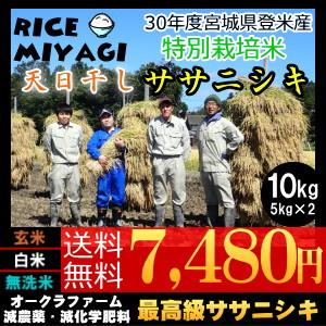 30年度産 新米 宮城県登米産 天日干し特別栽培米ササニシキ10kg 玄米/白米/無洗米