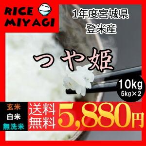 30年度産 新米 宮城県登米産 特別栽培米つや姫10kg 玄米/白米/無洗米