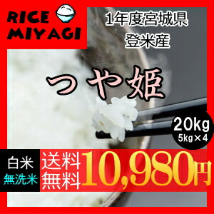 30年度産 新米 宮城県登米産 特別栽培米つや姫20kg 白米/無洗米