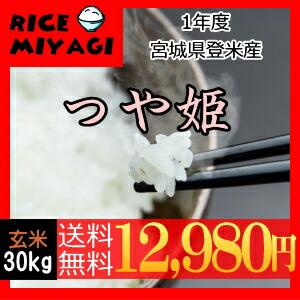 30年度産 新米 宮城県登米産 特別栽培米つや姫30kg 玄米