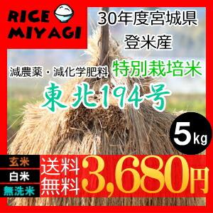 30年度産 新米 宮城県登米産 特別栽培米東北194号5kg 玄米/白米/無洗米