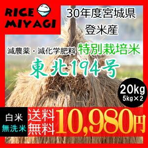 30年度産 新米 宮城県登米産 特別栽培米東北194号20kg 白米/無洗米