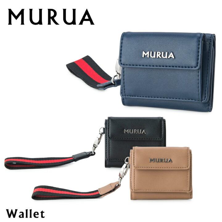lowest price e706a 3d74f ムルーア MURUA 三つ折り財布 MR-W542 ストラップ 【 ミニ財布 コンパクト レディース 】