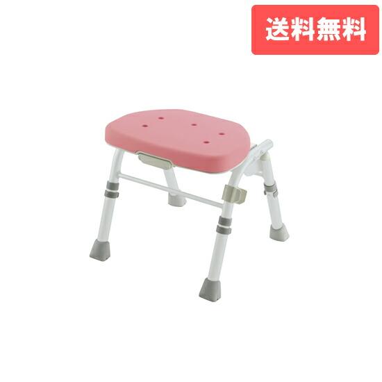 折りたたみシャワーチェア M型 背なし ピンク(P)