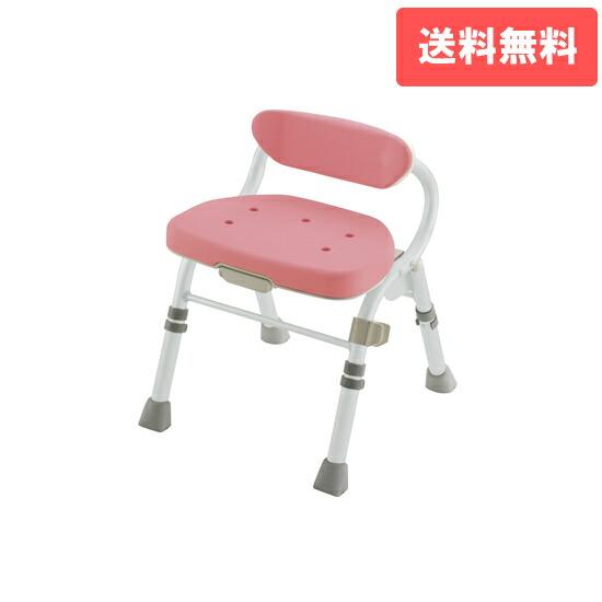 折りたたみシャワーチェア M型 背付L ピンク(P)