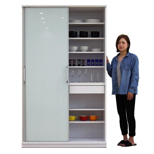 食器棚 幅120cm 奥行44cm 高さ200cm ハイタイプ キッチンボード キッチン収納 引き戸 木製 シンプル 北欧 完成品 送料無料