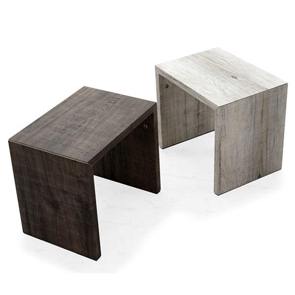 コの字 サイドテーブル ナイトテーブル テーブル 棚 北欧 おしゃれ ヴィンテージ風 ビンテージ風 アンティーク風 アンティーク調 3D エンボス加工 木製 送料無料