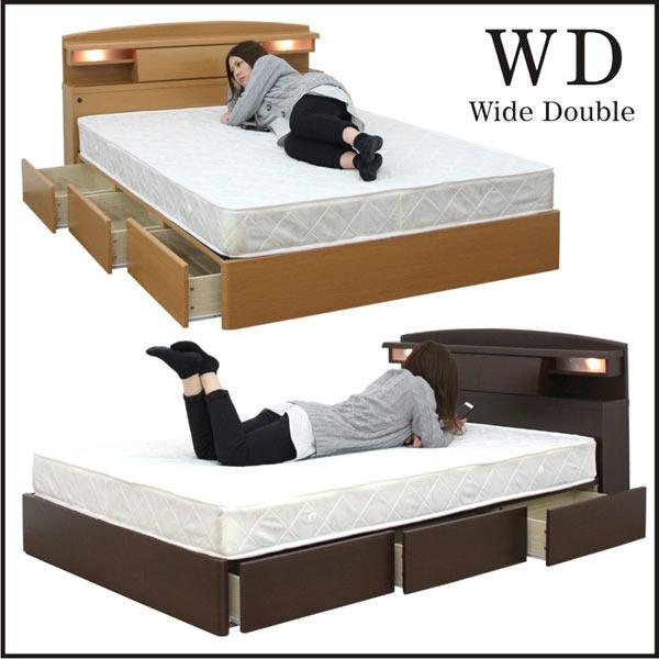 ワイドダブルベッド マットレス付き ベッドフレーム ベッド ベット すのこベッド 機能付き 引き出し付き 収納付き 宮付き ライト付き コンセント付き シンプル モダン 木製 2色展開 楽天 家具通販 送料無料
