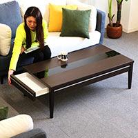 リビングテーブル 白 幅120cm 120x60 センターテーブル ローテーブル 引出収納付き