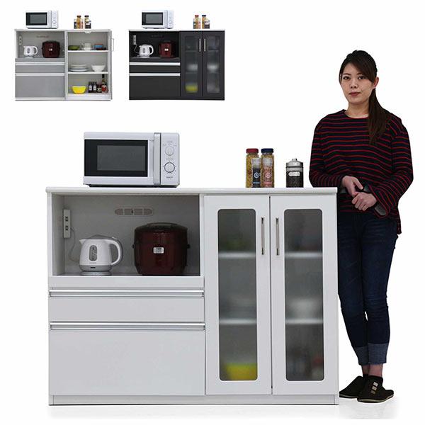 キッチンカウンター 幅130cm 130cm 奥行48cm 高さ97cm 腰高カウンター キッチン収納 モイス付き MOISS シンプル 北欧 モダン 木製 日本製 完成品 送料無料