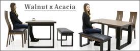 ダイニングテーブルセット ダイニングセット ダイニングテーブル ベンチ 4人掛け 4点 135×80 135幅 長方形 北欧 モダン スタイリッシュ ハイバック ツートン ブラウン ブラック ウォールナット材 アカシア材