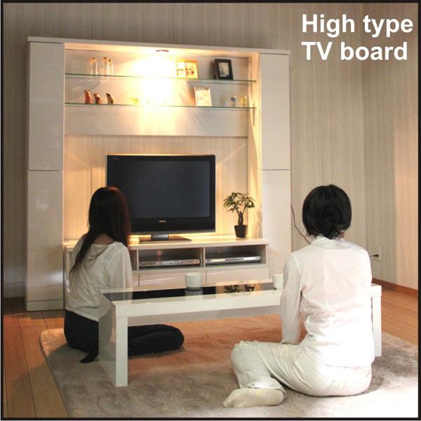数量限定 テレビ台 TVボード テレビボード ハイタイプ 幅190cm 高さ180cm 収納TVボード 鏡面 ホワイト 壁面収納 ダウンライト付き 送料無料