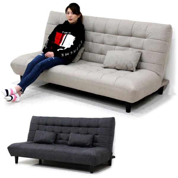ソファーベッド ダブルサイズ 3人掛け コンパクト 幅180 クッション2個付き 脚部取り外し可能 ファブリック生地 選べる2色 ダークグレー ライトグレー 楽天 送料無料
