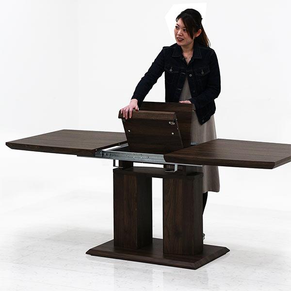 ダイニングテーブル 伸長式 木目調ブラウン色 幅140 180 おしゃれ 高級感 ストッパー付き 折りたたみ式 スライドレール ワイドテーブル 食卓テーブル モダンテイスト 伸長式テーブル 強化シート貼り 個性的  送料無料