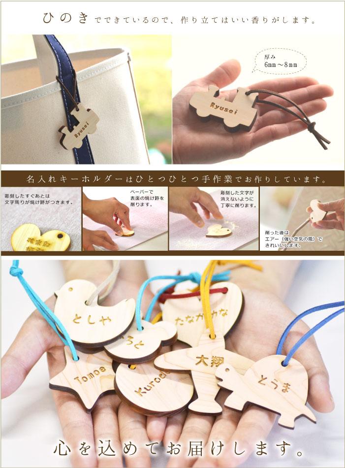 ひのき製のキーホルダーの選択項目の説明画像