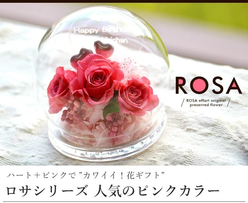 名入れプリザーブドフラワー専門店 エフアートアレンジメント 名入れドーム型プリザROSAシリーズピンクメイン画像