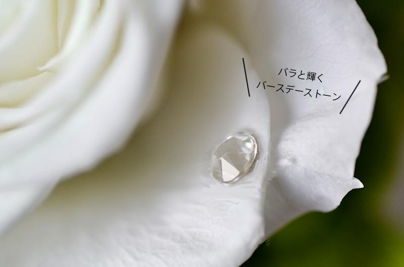 バラに貼り付けた状態の誕生月クリスタルストーンの拡大写真