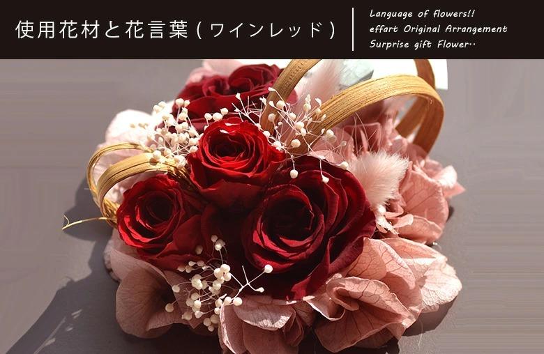 使用花材と花言葉についての説明 ワインレッド