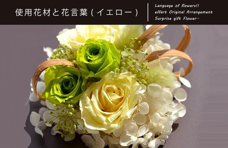 使用花材と花言葉についての説明 イエロー