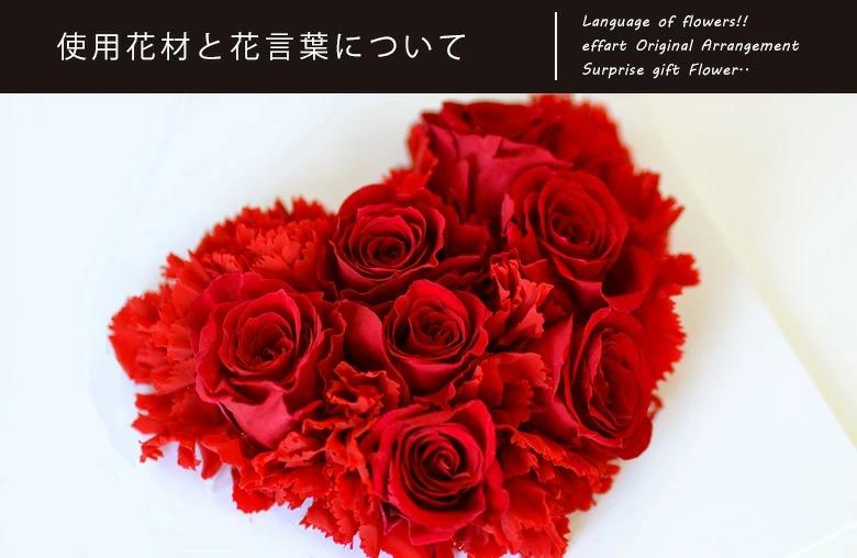 ハート型の薔薇が大きく映し出され、花言葉を英文で説明した写真