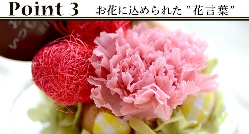 カーネーションROSAベアーの使用花材と込められた花言葉の説明について