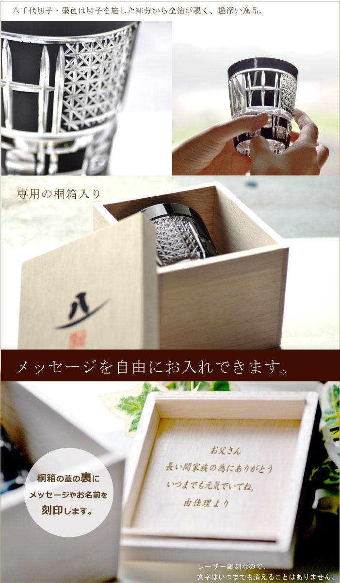 切子 焼酎グラス 八千代切子 墨色 田工の組ロックグラスについて
