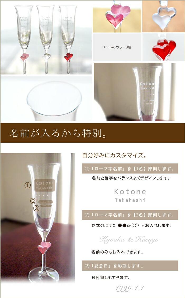 英文字が4種類から選べ名前と記念日が入るグラス