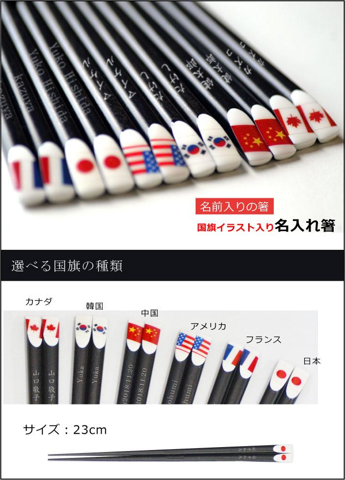 国旗のイラスト入りの名前箸