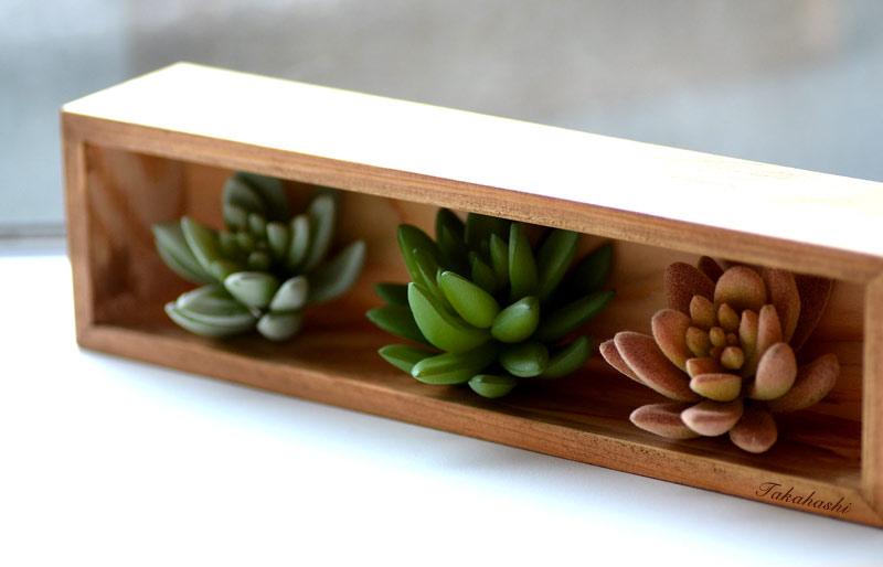 名前入り木枠と多肉植物のフェイク