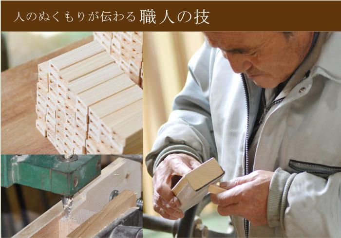 職人が手作業でヒノキの加工をしている画像