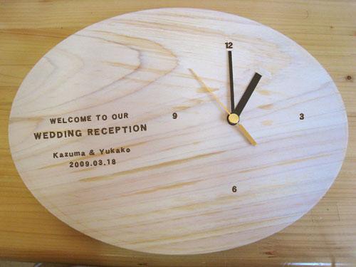 一つ一つ木目が違う天然ヒノキ時計