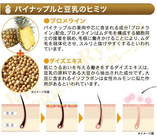 パイナップルと豆乳のヒミツ  ●ブロメライン  パイナップルの果肉や芯に含まれる成分「ブロメライン」配合。ブロメラインはムダ毛を構成する細胞同士の接着を弱め、毛根に働きかけることにより、ムダ毛を弱体化させ、スルリと抜けやすくするといわれています。  ●ダイズエキス  肌にうるおいを与える働きをするダイズエキスは、豆乳の原料である大豆から抽出された成分です。大豆に含まれるイソフラボンは女性ホルモンに似た作用があるといわれています。  ※イメージ図