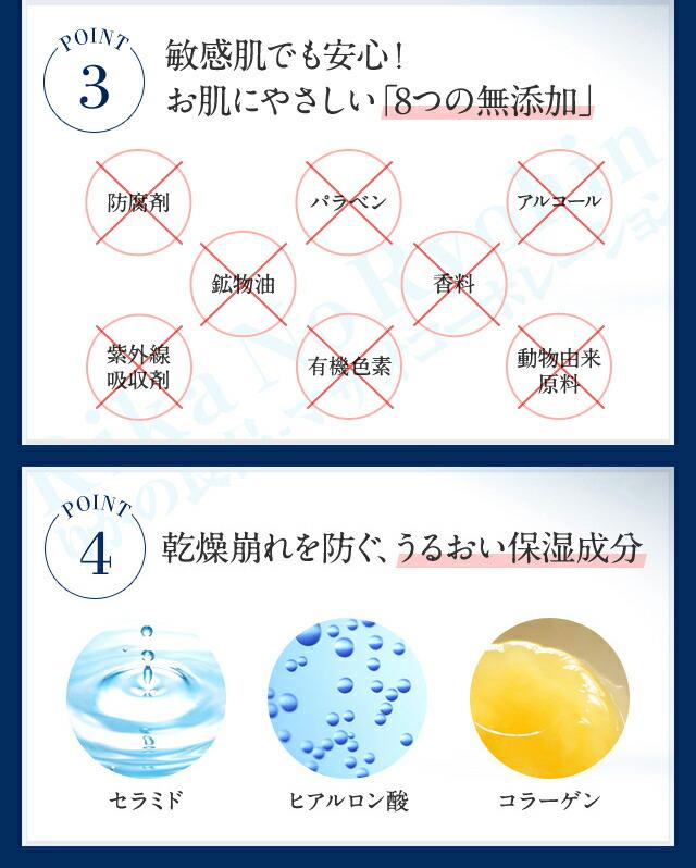 POINT3、敏感肌でも安心!お肌にやさしい「8つの無添加」、POINT4、乾燥肌崩れを防ぐ、うるおい保湿成分