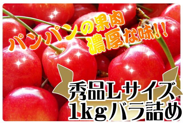 秀品Lサイズ 1kgバラ詰 佐藤錦 山形県産