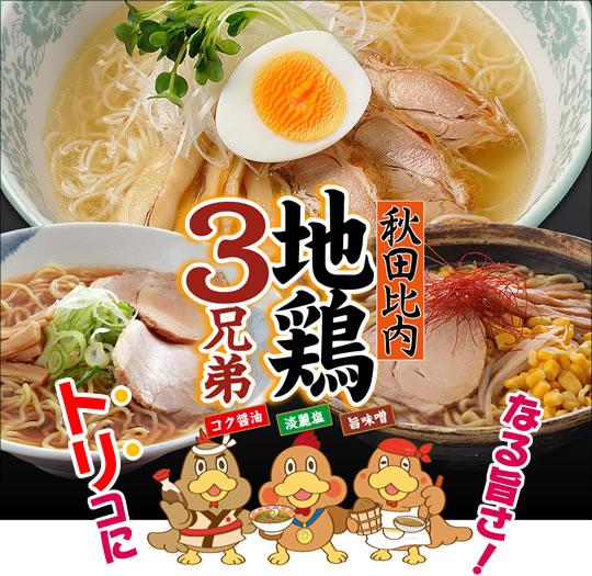 秋田比内地鶏3兄弟!淡麗塩・旨味噌・コク醤油(各2食入)合計6食セット