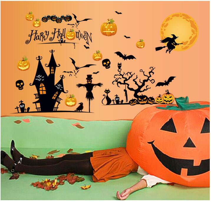 Immediate Delivery Correspondence A Wall Sticker Seal Pumpkin Skeleton Witch Cat Crow Cross Bat Party Goods