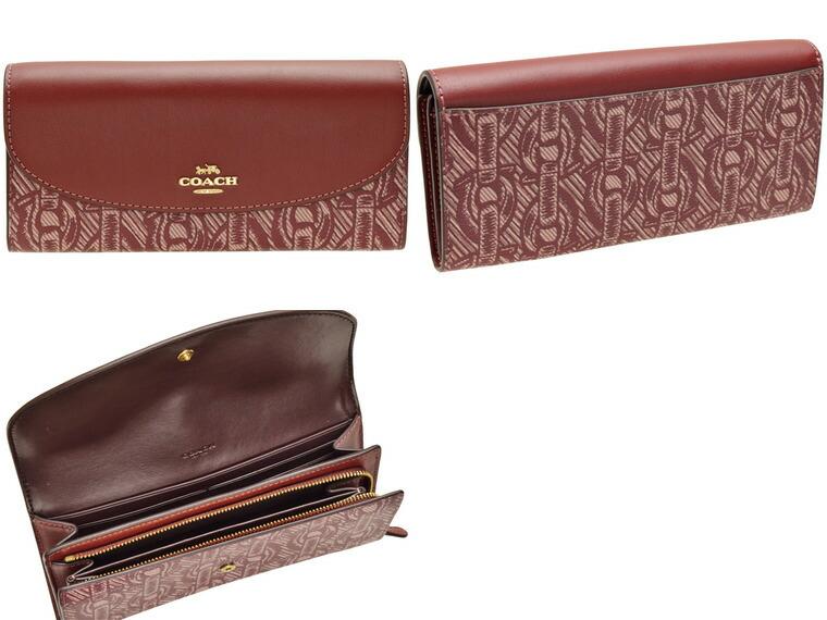 8fff668660c5 コーチ/COACH [ サイフ ] 財布 CHAIN PRINT チェーンの柄が色々な表情に見える長財布 。収納スペースが豊富で外にもポケットがある便利なつくりです。