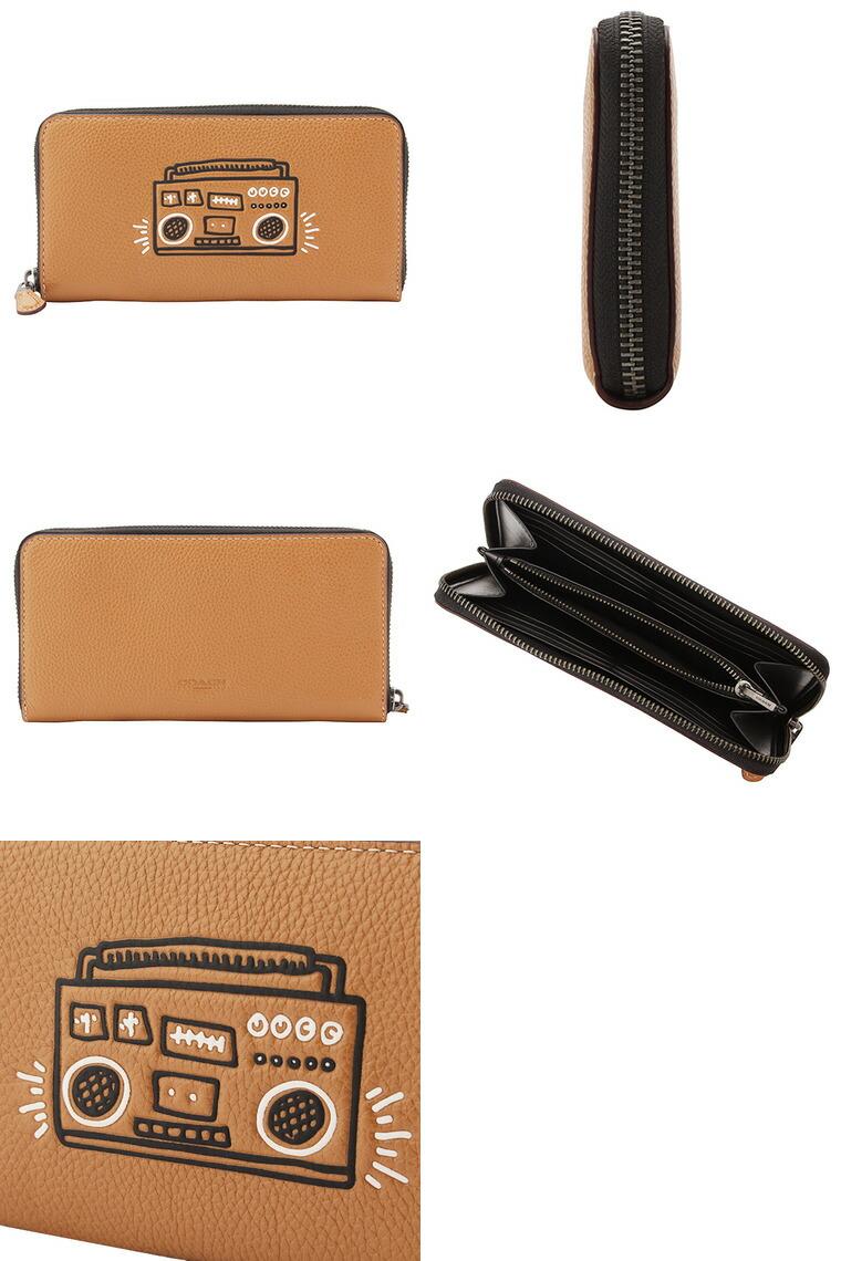cf7947640a8a COACH [ サイフ ] コーチ財布『Keith Haring×Coachコラボレーション』上質なレザーのラウンドファスナー長財布。コーチのペブルドレザーは、柔らかく肉厚でしっかり  ...
