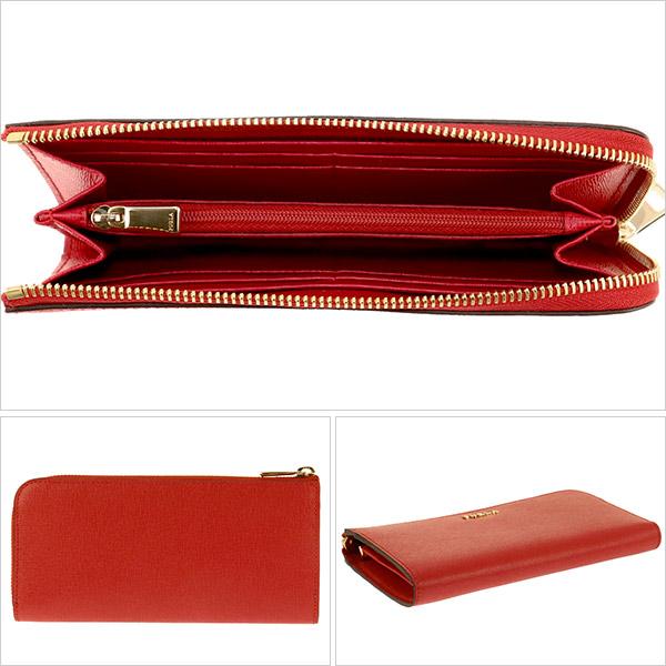 フルラ 赤色 長財布 ファスナー付き小銭入れ カード 楽天