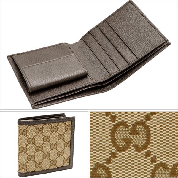 online store a3542 6d0c6 グッチ GUCCI メンズ 二つ折り財布 ベージュ×ダークブラウン GG ...