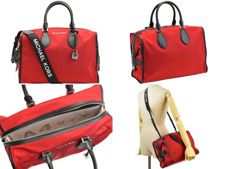90f08d609313 マイケルマイケルコース/MICHAEL MICHAEL KORS [ カバン ] 鞄 CONNIE LG DUFFLE BAG  光沢のある上質なナイロンのボストンバッグ。インパクトのあるショルダーベルトは ...