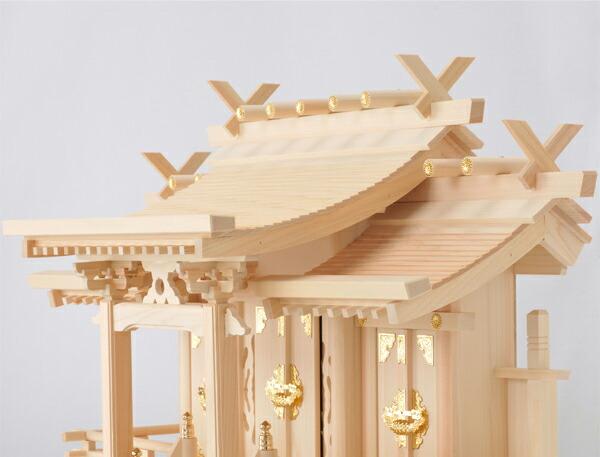 ひのき製神棚流れ屋根三社神棚穂高日本製東濃桧製
