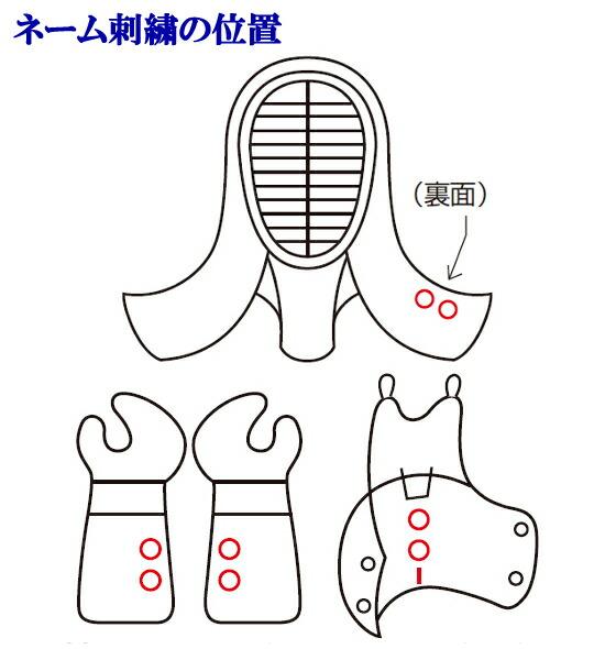 薙刀防具ネーム刺繍