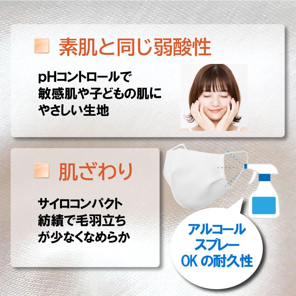 お肌に優しい弱酸性、コットン綿混素材で快適マスク