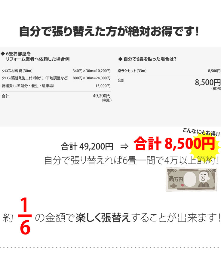 自分で貼り替えた方が絶対お得です!8980円