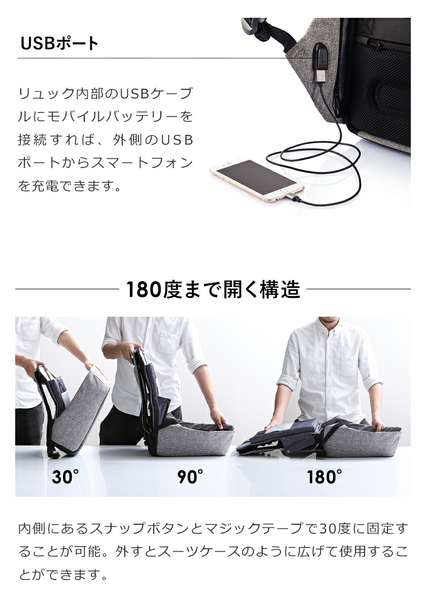 USB端子付属のスーツケースのように開くリュック