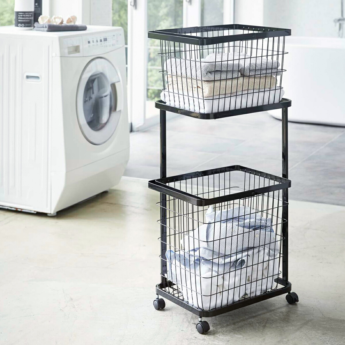 tower / タワー ランドリーワゴン+バスケットセット ランドリー 洗濯かご 収納