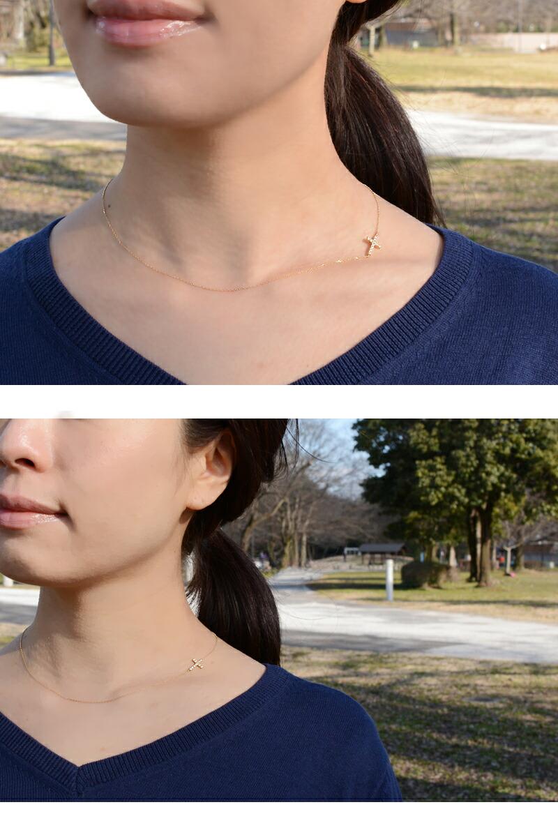 サイドクロスネックレス ダイヤモンド ロッソエブルー k18 18金 横 十字架 クロス ネックレス お守り